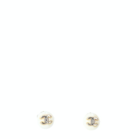 White Small 'CC' Logo Earrings
