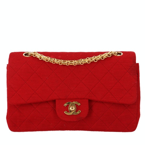 Red Small Fabric Classic Double Flap Bag
