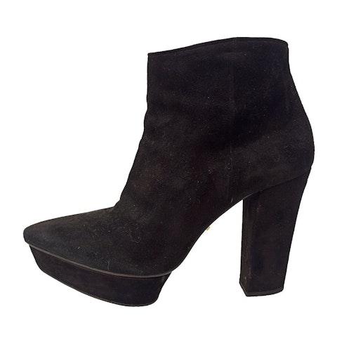 Black suede plateau heels