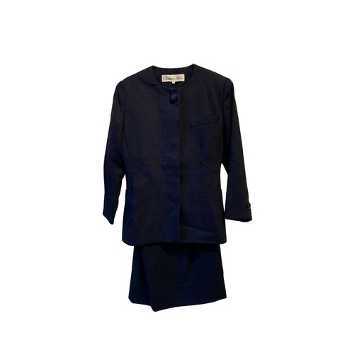 Blue Fabric Blazer and Skirt Set