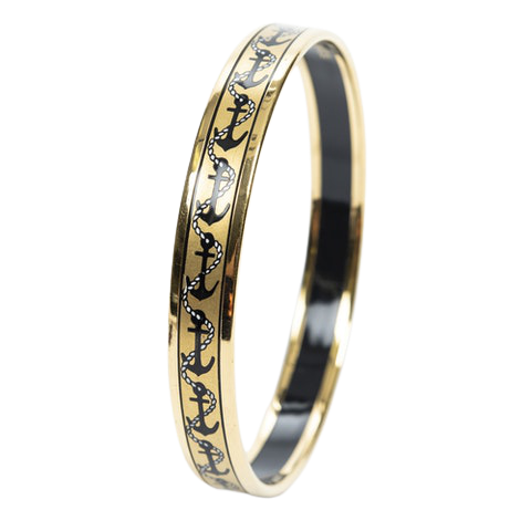 Enamel Bangle PM in Black/Gold Stainless Steel without Nickle