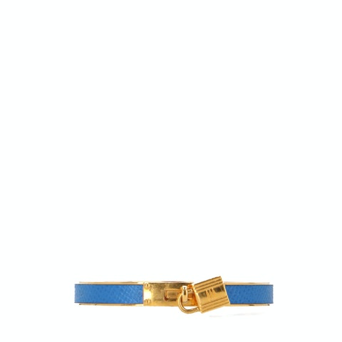 Blue Leather and Gold-Toned Kelly Lock Cadena Bracelet