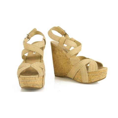 Nude Matte Leather Cork Wedge Heel Sandal Platform