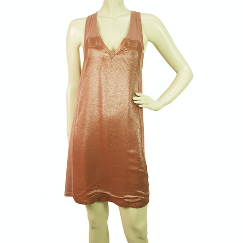 Metallic Peach Silk V neck X back Mini Dress