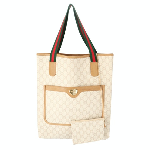 Beige PLUS Diamante Coated Canvas Tote