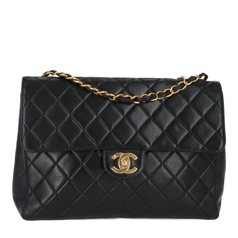 Chanel Black Jumbo Tall Calfskin Classic Single Flap Bag