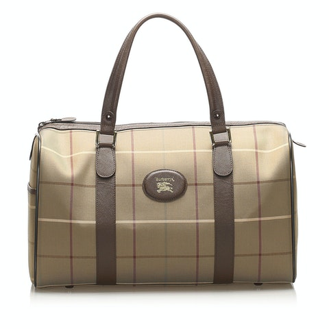 Plaid Canvas Boston Bag