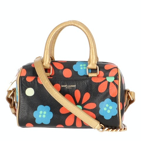 Multicolor Floral-Print Toy Duffle Crossbody Bag