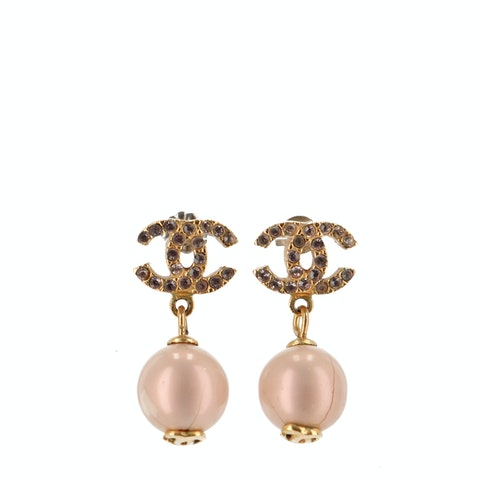 Gold-Toned 'CC' Pearl Earrings