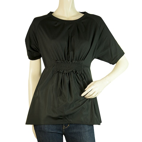 Black Girocollo Elasticized Short Sleeve Blouse top
