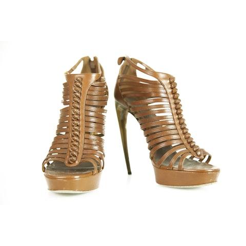 Brown Gladiator High Heel Platform Sandals