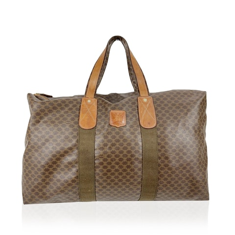 Celine Vintage Brown Macadam Canvas Travel Weekender Duffle Bag