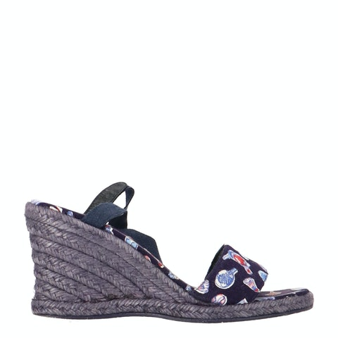 Navy Canvas Wedge Espadrilles