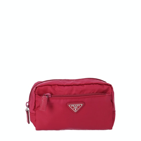 Pink Nylon Cosmetic Pouch