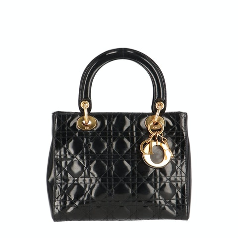Black Patent Leather Lady Dior Small